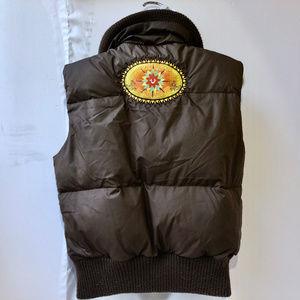 TRUE RELIGION Brown Puff GOOSE DOWN Vest Logos